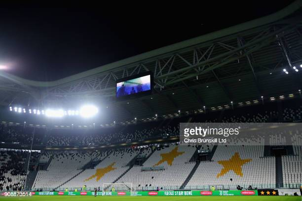 The Curva Sud stand is shown empty following a punishment relating to the clubs relationship with the Ultras before the Serie A match between...