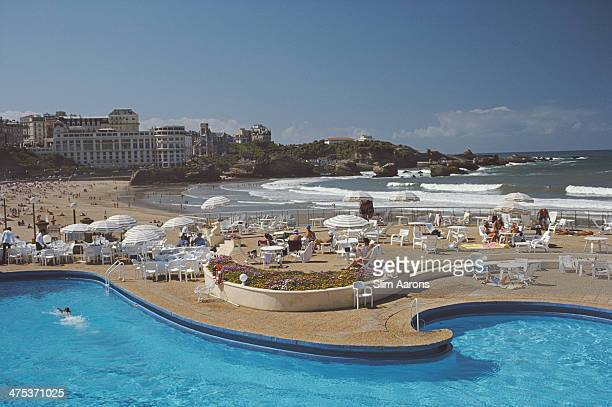 The curved beachside pool at the Hotel du Palais Biarritz Biarritz France September 1985