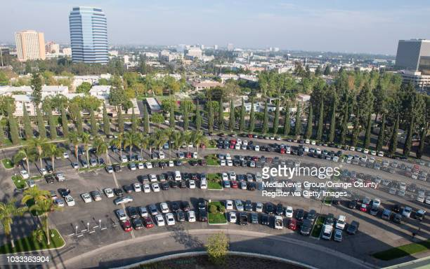 The curved drive-in movie parking lot of the original Crystal Cathedral can be seen from the 13-floor of the Tower of Hope at Christ Cathedral in...