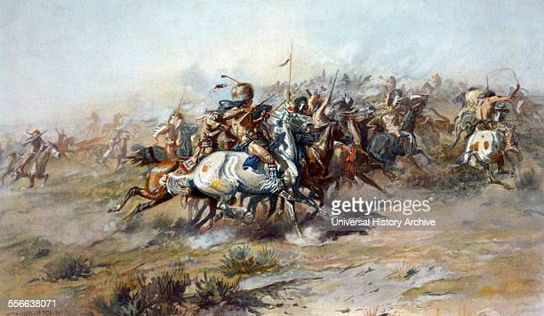 The Custer Fight by Charles Marion Russell The Battle of Little Bighorn by C M Russell c1905