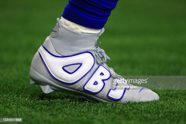 The custom nike shoes worn by Odell Beckham Jr #13 of the New York Giants during warm ups before the game against the Dallas Cowboys at ATT Stadium...