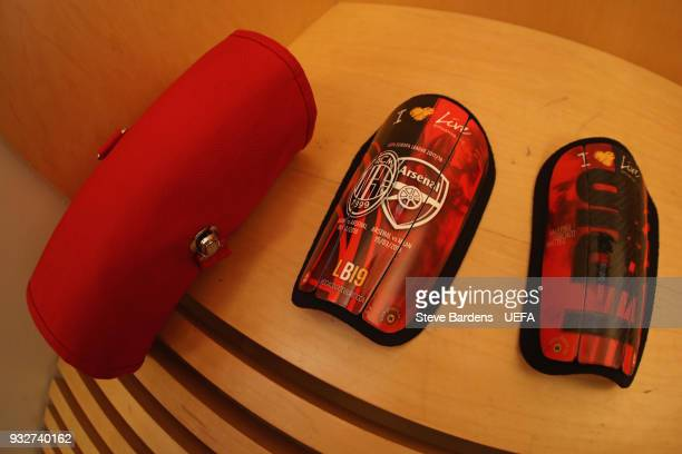 The customised shin pads of Leonardo Bonucci of AC Milan in the AC Milan dressing room prior to the UEFA Europa League Round of 16 second leg match...