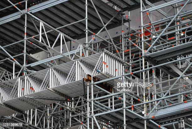 The custom-made scaffolding and temporary roof covers of St Patrick's Cathedral in Dublin seen during Level 5 Covid-19 lockdown. On Wednesday,...
