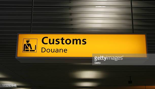 The customs sign at an airport