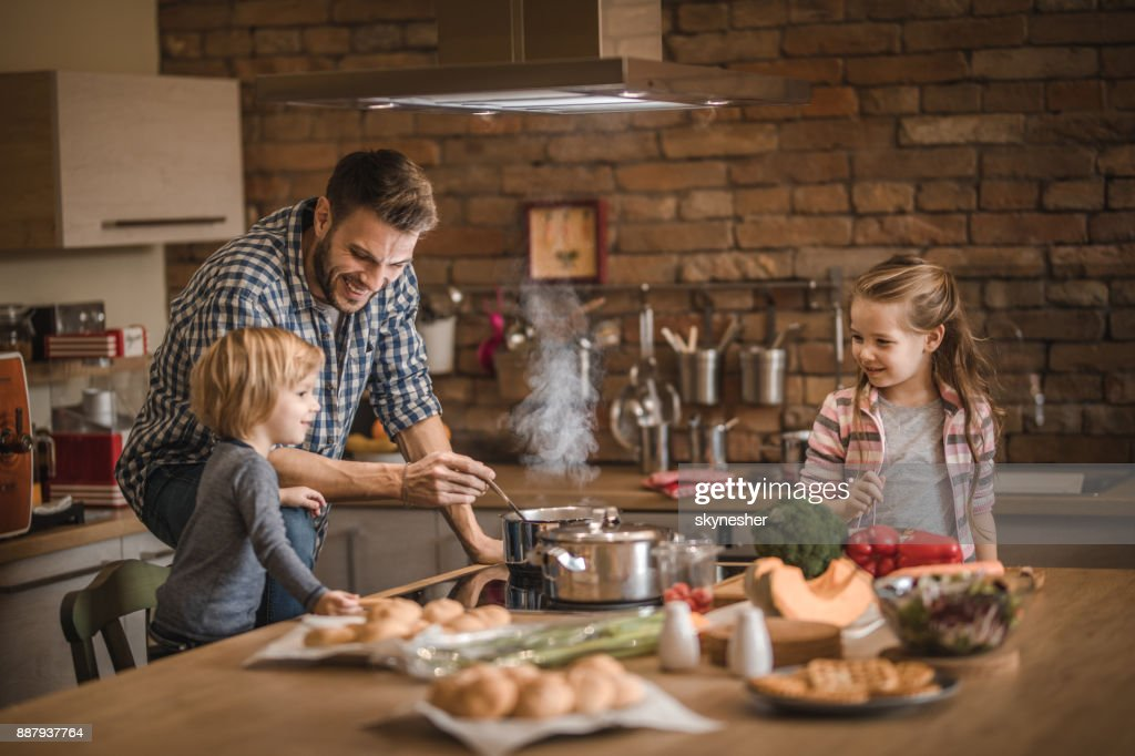 The cutest assistance in the kitchen! : Stock Photo
