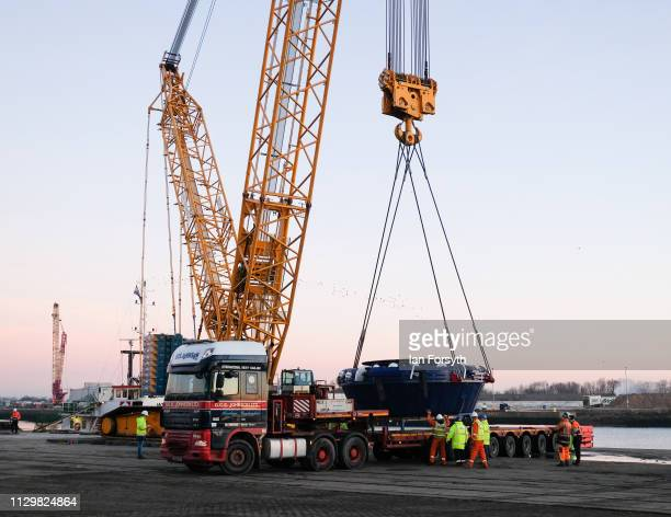 The Cutter Head part of the Sirius Minerals Tunnel Boring Machine is unloaded after arriving by ship from Rotterdam at the AV Dawson logistics site...