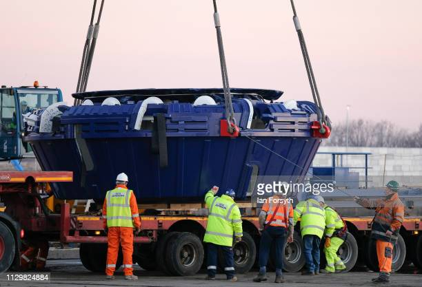The Cutter Head part of the Sirius Minerals Tunnel Boring Machine is loaded onto a low loader lorry after arriving by ship from Rotterdam at the AV...