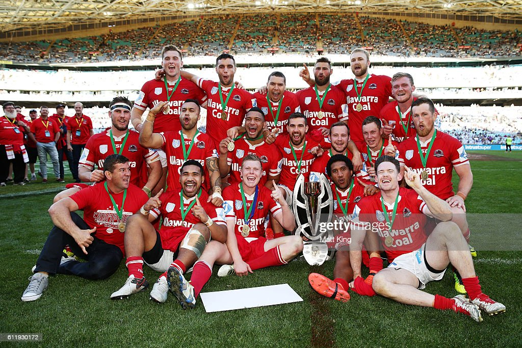 The Cutters celebrate winning the 2016 State Championship Grand Final match between the Illawarra Cutters and the Burleigh Bears at ANZ Stadium on October 2, 2016 in Sydney, Australia.