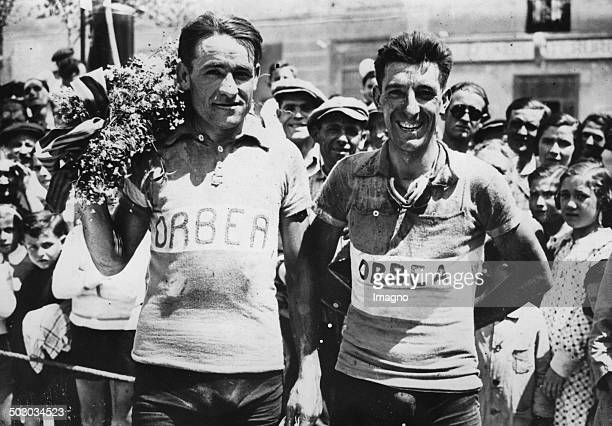 The cyclist Mariano Cañardo and Fédérico Ezquerra at the tour through Catalonia 11th June 1935 Photograph