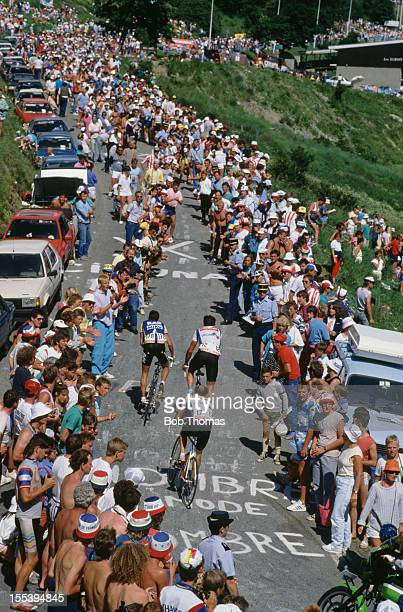 The cyclists climb L'Alpe d'Huez in France during Stage 20 the Tour de France July 1987