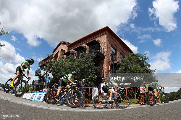 The Cylance Pro Cycling team rides in the stage two team time trial of the Amgen Breakaway from Heart Disease Women's Race on May 20, 2016 in Folsom,...