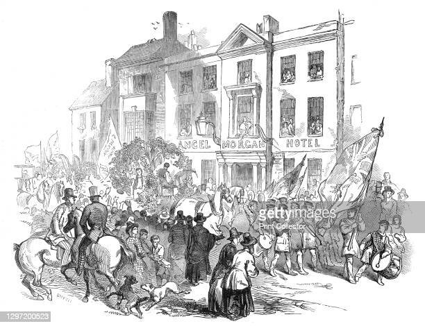 The Cymreigyddion Festival - the procession through Abergavenny, 1845. Cultural event in Wales. '...the President, Sir B. Hall, Bart., M.P. ...and...