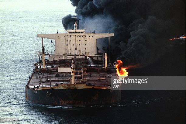 The Cypriot flagged 232thousand ton tanker Pivot loaded with Saudi Arabian crude was attacked and set ablaze by an Iranian warship 12 December 1987...