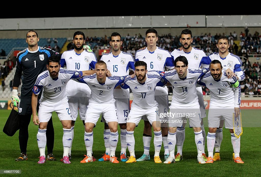The Cyprus football team poses for a photo before their Euro 2016 Group B qualifying match against Andorra at the GSP Stadium in the capital Nicosia on November 16, 2014.