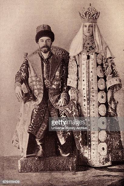 The Czar and Czarina in oldworld Muscovite garments