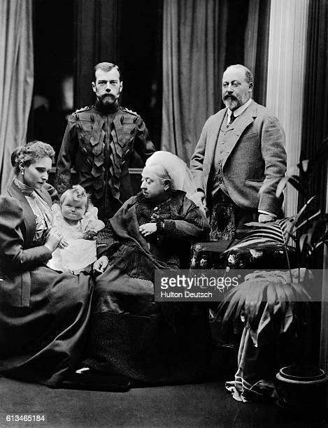 The Czar and Czarina of Russia visit Queen Victoria at Balmoral. The Czarina is the granddaughter of Queen Victoria. Shown are : Alexandra...