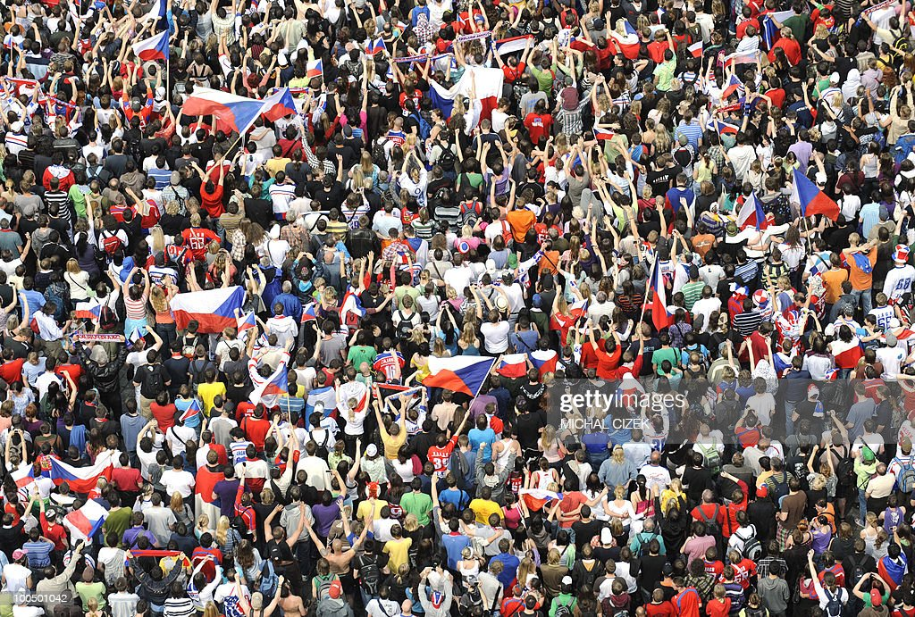The Czech Ice hockey team fans celebrate on the Old Town Square on May 24, 2010 after their team won the ice hockey World Championships defeating Russia 2-1 in Cologne (Germany).