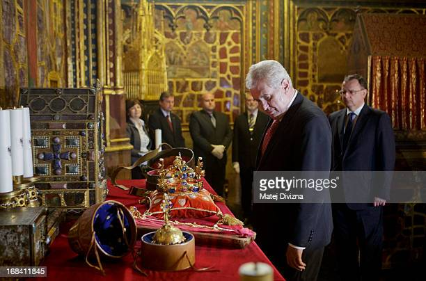 The Czech President Milos Zeman looks at the Czech Crown Jewels before the opening of The Bohemian Crown Jewels Exhibition 2013 on May 9 2013 in...