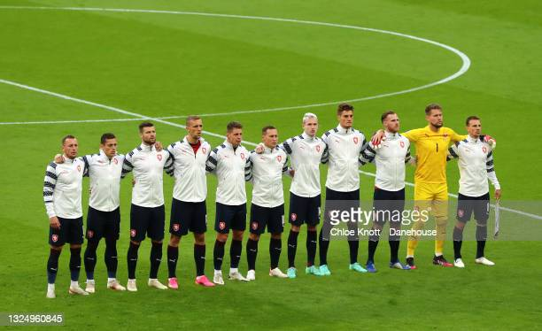 The Czech Republic line up ahead of during the UEFA Euro 2020 Championship Group D match between Czech Republic and England at Wembley Stadium on...