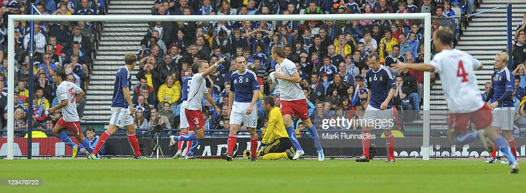 The Czech Republic score their first goal during the UEFA EURO 2012 Group I Qualifying match between Scotland and Czech Republic at Hampden Park on September 03, 2011 in Glasgow, Scotland.