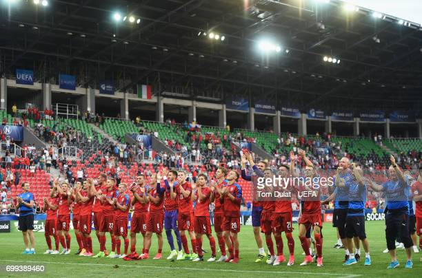 The Czech Republic team celebrate after the UEFA European Under21 Championship Group C match between Czech Republic and Italy at Tychy Stadium on...
