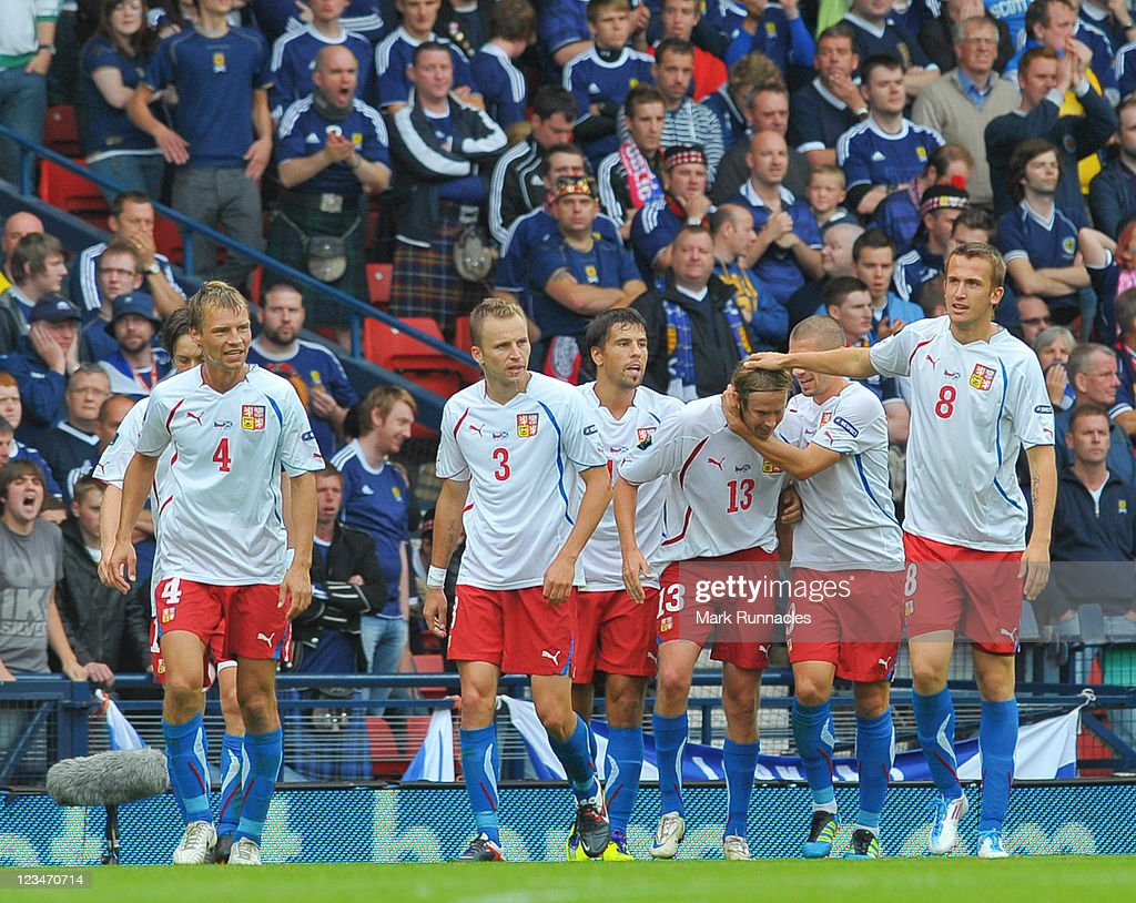 The Czech Republic team celebrating their first goal during the UEFA EURO 2012 Group I Qualifying match between Scotland and Czech Republic at Hampden Park on September 03, 2011 in Glasgow, Scotland.