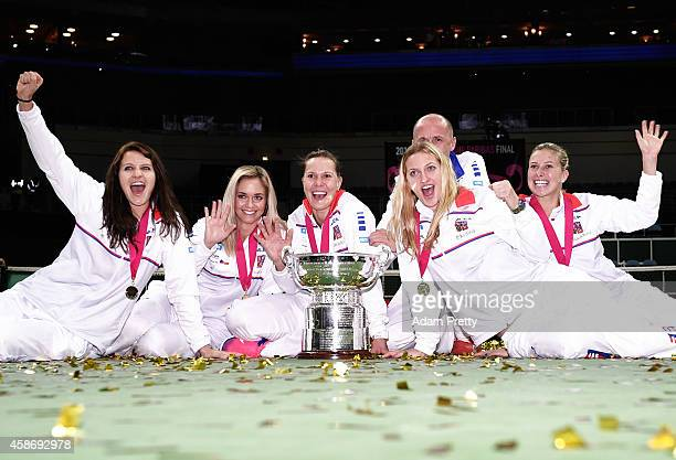 The Czech Republic team including Petr Pala Team Captain Petra Kvitova Lucie Safarova Andrea Hlavackova Lucie Hradecka and Karolina Pliskova...