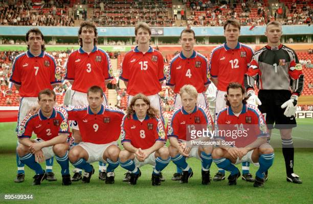 The Czech Republic team line up for a group photo before the UEFA Euro 96 group game between Russia and Czech Republic at Anfield on June 19 1996 in...