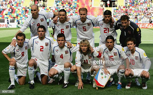 The Czech Republic team line up prior to the UEFA Euro 2004 Group D match between Czech Republic and Latvia at the Estadio Municipal de Aveiro on...