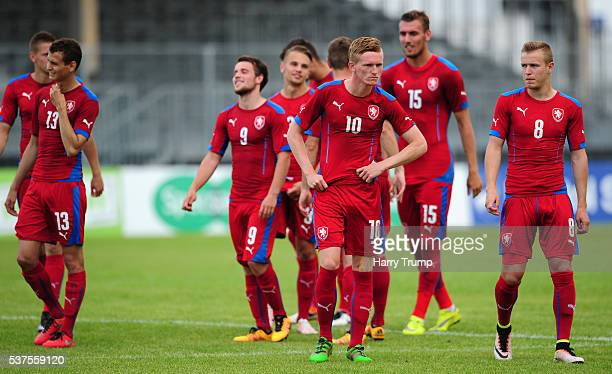 The Czech Republic team react after losing on penalties during the Toulon Tournament 3rd/4th Playoff match between Portugal and Czech Republic at...