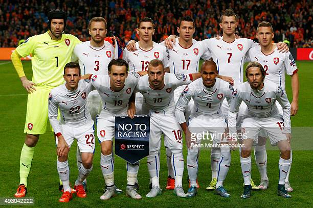The Czech team line up prior to the Group A UEFA EURO 2016 qualifying match between Netherlands and Czech Republic held at Amsterdam Arena on October...