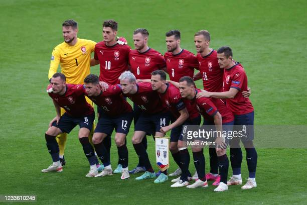 The Czech team pose for a team photo during the UEFA Euro 2020 Championship Group D match between Czech Republic and England at Wembley Stadium on...