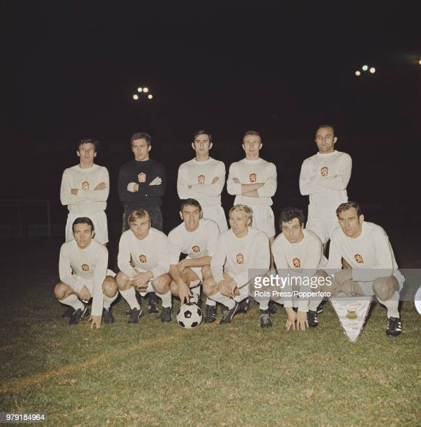 The Czechoslovakia national football team line up together prior to playing Hungary in the FIFA World Cup Europe group 2 playoff at Stade Velodrome...