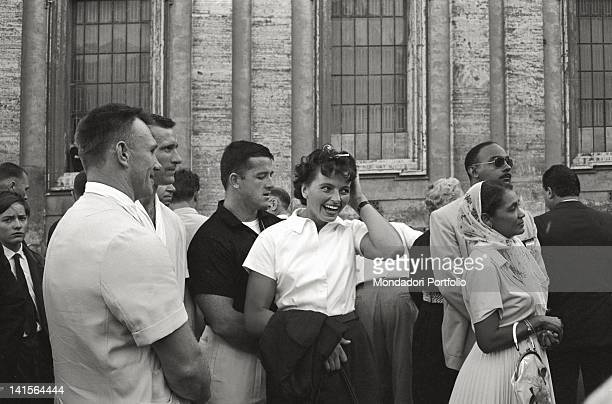 The Czechoslovakian discus thrower Olga Fikotova smiling whith her husband the American hammer thrower Harold Connolly during Rome Olympics Rome 1960