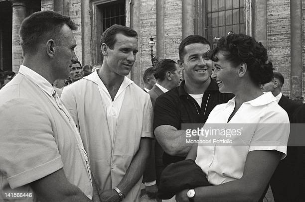The Czechoslovakian discus thrower Olga Fikotova smiling with her husband the American hammer thrower Harold Connolly during Rome Olympics Rome 1960