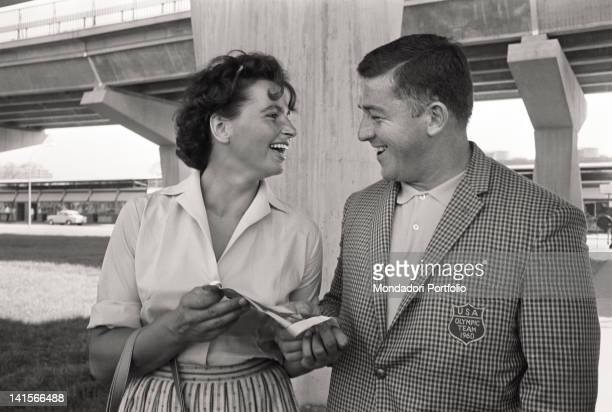 The Czechoslovakian discus thrower Olga Fikotova smiling with her husband the American hammer thrower Harold Connolly during Rome Olympics Rome...