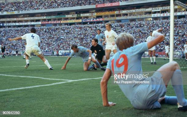The Czechoslovakian goalkeeper Ivo Viktor has the ball after England's Colin Bell had crossed for Allan Clarke at the near post during the FIFA World...
