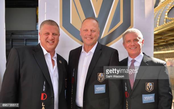 The D Las Vegas CEO Derek Stevens Vegas Golden Knights head coach Gerard Gallant and Vegas Golden Knights President Kerry Bubolz attend an...