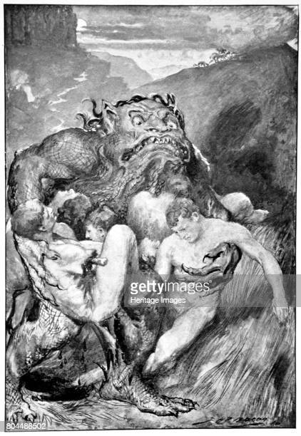 The Daemon of evil with his fierce ravening greedily grasped them' 1910 Beowulf hero of the Geats faces the first of three battles A print from Hero...