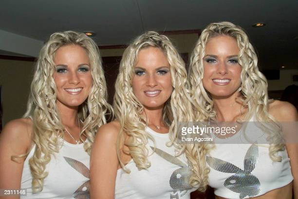 The Dahm triplets pose together at the Playboy party celebrating TV's Survivor Jerri Manthey's nude pictorial in the September 2001 issue at Light in...