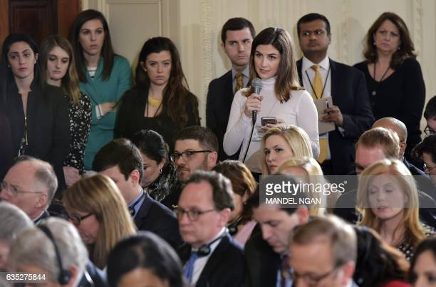 The Daily Caller White House correspondent Kaitlan Collins asks a question during a press conference by US President Donald Trump and Canada's Prime...