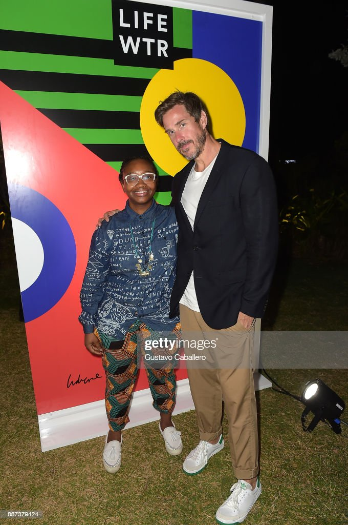 The Daily Front Row celebrates the Launch of Act1 with Adrienne Gaither (L) and Mark Tavis presented by LIFEWTR at Faena Hotel on December 6, 2017 in Miami Beach, Florida.