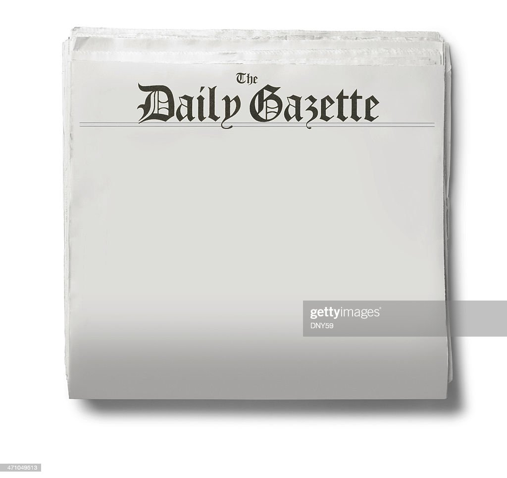 The Daily Gazette Newspaper On A White Background Stock