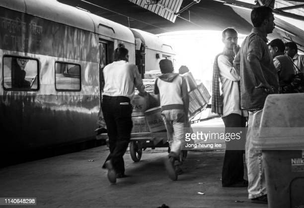 The daily routine of the New Delhi Railway Station platform.