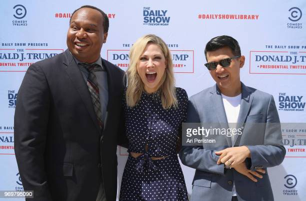 The Daily Show correspondents Roy Wood Jr Desi Lydic and Ronny Chieng arrive at Comedy Central's The Daily Show Presents The Donald J Trump...
