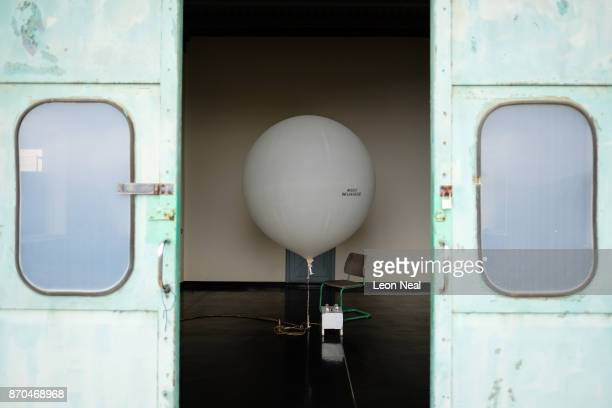 The daily weather balloon is seen in it's hangar ahead of launch at the Met Office base near St Helena airport on October 26 2017 in Prosperous Bay...