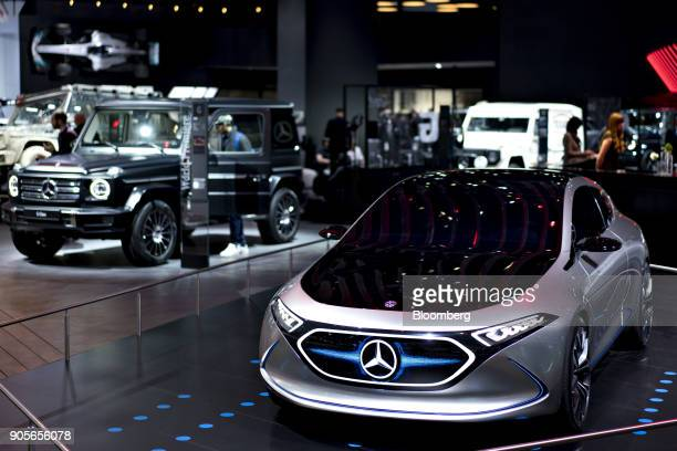 The Daimler AG MercedesBenz Concept EQA electric vehicle right is displayed during the 2018 North American International Auto Show in Detroit...