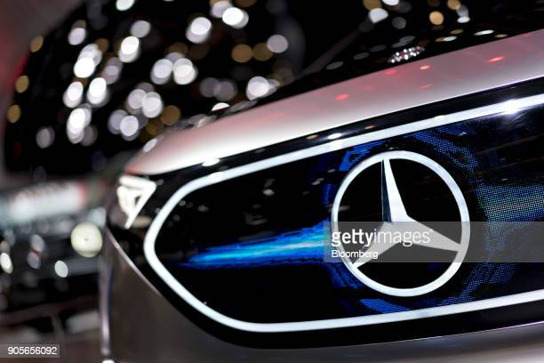 The Daimler AG MercedesBenz logo is seen on the grille of the Concept EQA electric vehicle during the 2018 North American International Auto Show in...