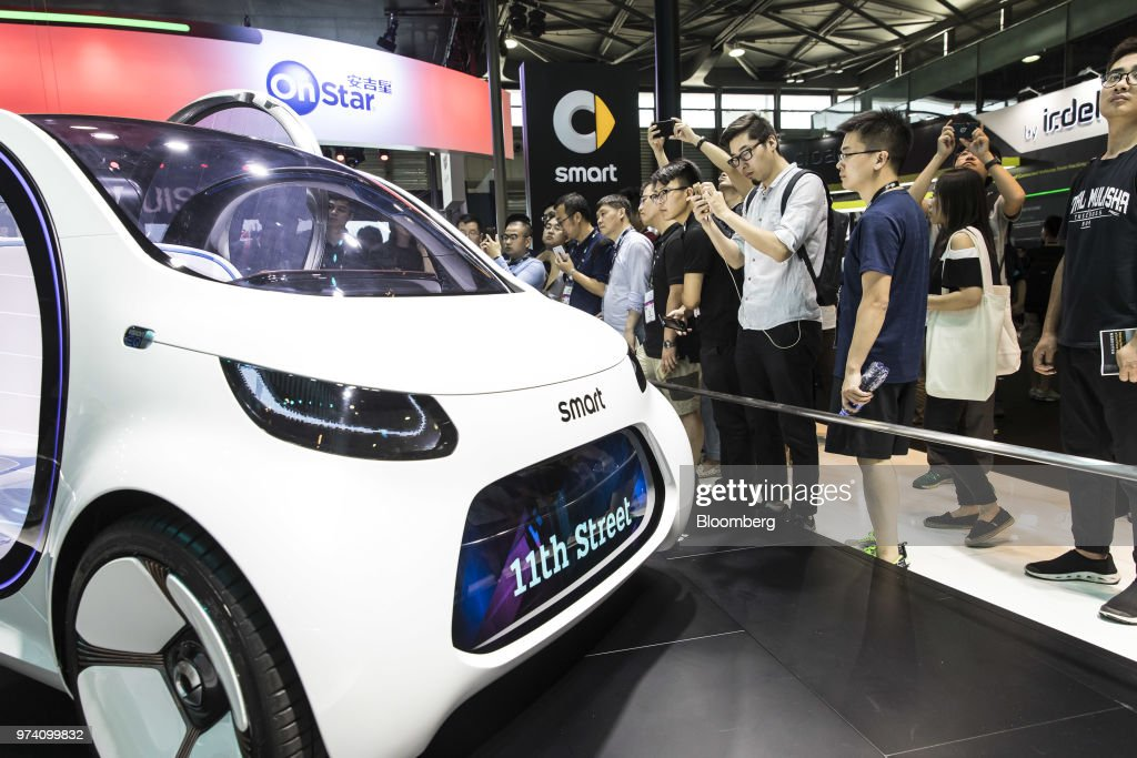 The Daimler AG Smart Vision EQ fortwo electric autonomous self-driving concept vehicle stands on display at the CES Asia 2018 show in Shanghai, China, on Wednesday, June 13, 2018. The show runs through June 15. Photographer: Qilai Shen/Bloomberg via Getty Images