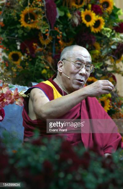 the Dalai Lama addresses the crowd during His Holiness The Dalai Lama Gives a Public Talk for New York at Central Park in New York City NY United...